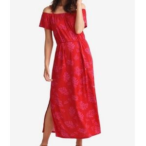 Maxi Dress red print XL size Off-the-shoulder